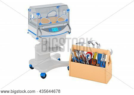 Neonatal Incubator With Toolbox. Service And Repair Of Infant Incubator, 3d Rendering Isolated On Wh