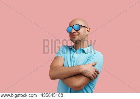 Love Myself. Happy Bald Homosexual Man With Bristle Smiles, Embraces Himself With Pleasure, Dreaming