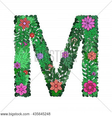 Letter M With Flowers And Leaves. Monogram Letter M. Floral Design For Print, Greeting Card, Wedding