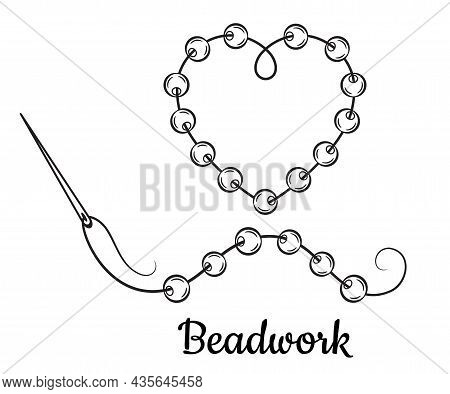 Beadwork Embroidery, Beading Handmade Line Icon. Sewing Needle With Thread For Sew Glass Beads To Fa