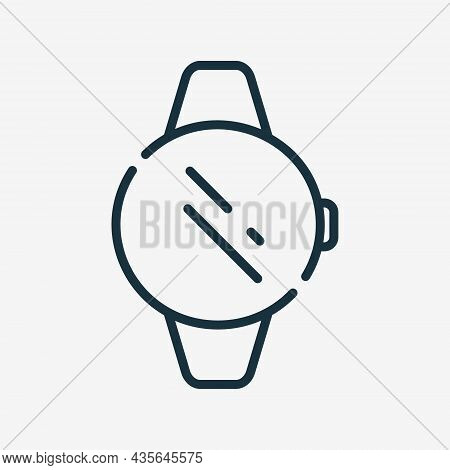 Smartwatch Line Icon. Wrist Watch Icon. Electronic Device Or Gadget With Circle Screen Linear Pictog