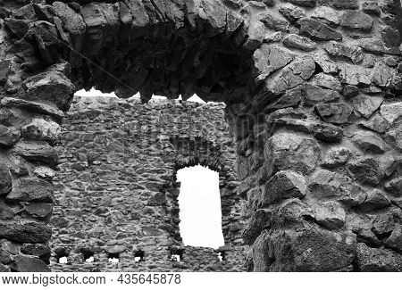 Mystical Ruins. Inside Old Ruined Abandoned Building Of An Ancient Castle. Horror Halloween Concept.