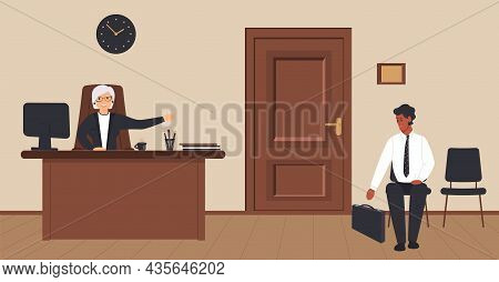 Office, Corridor,cream, Background,reception, Elderly, Secretary,waiting, Area, Visitor, Chair,woode