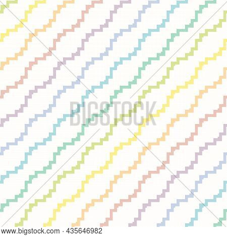 Seamless Funky Pattern. Vector Colorful Background With Rainbow Diagonal Zigzag Shapes, Stripes. Sim