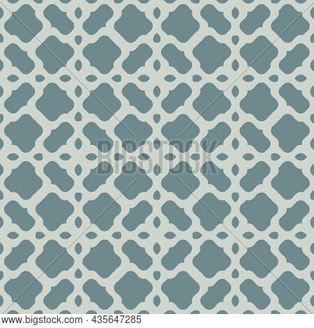 Vintage Floral Mesh Pattern. Vector Abstract Illustration With Geometric Teal And Green Shapes. Seam