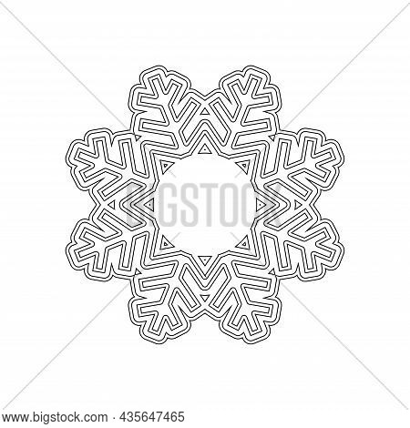Snowflake Coloring On A White Background. Vector.