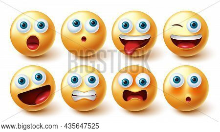 Emojis Face Vector Set. Emoji Icon Collection Isolated In White Background For Graphic Design Elemen