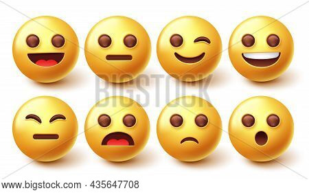 Emoji Character Vector Set. Emoticon Collection With Graphic Facial Expression Isolated In White Bac