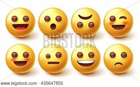 Emoji Characters Vector Set. 3d Yellow Face Graphic Design With Facial Mood Expression Isolated In W