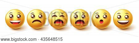 Emojis Character Vector Set. Emoji Emoticons In 3d Graphic Design With Cute Facial Expressions Of Ha