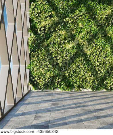 Architectural design of modern hall with vertical garden. 3D illustration, rendering.