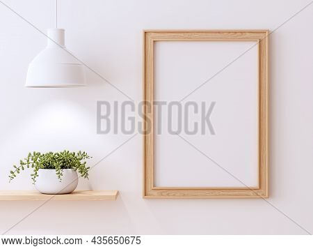 Minimal Style Wooden Picture Frame On White Wall 3d Render Decorate With White Lamp And Succulent Pl