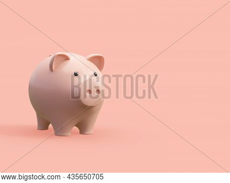 Cartoon Style Cute Piggy Bank On Pink Background With Copy Space 3d Render Illustration