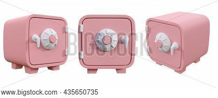 Cartoon Style Pink Money Safe Isolated On White Background 3d Render Illustration