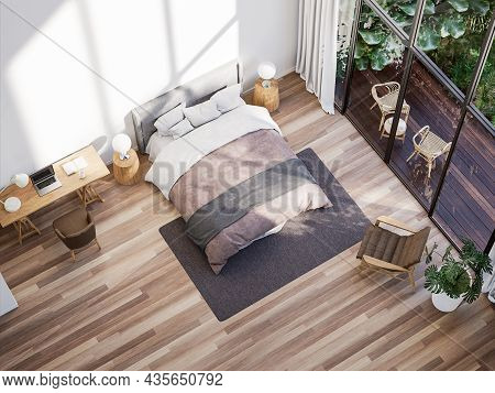 Top View Of Modern Bedroom And Working Table With Tropical Style Garden View 3d Render,the Rooms Hav