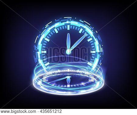 Portal And Hologram Time Machine. Sci-fi Digital Hi-tech In Glowing Hud Projector. Magic Gate In Gam