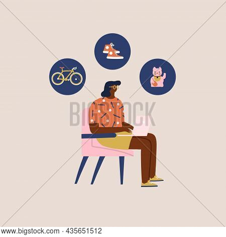 Women Shopping Online By Laptop, Browsing Bicycle, Home Decor And Apparel. Black Friday Sale Illustr