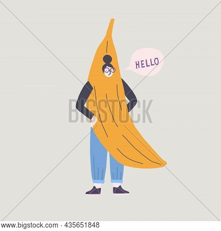Banana Costume Girl Say Hello Funny Illustration In Vector. Halloween Card Or Poster.