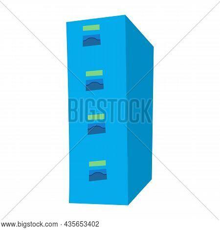 Vector Illustration Of Flat Design Blue Tall Cabinet