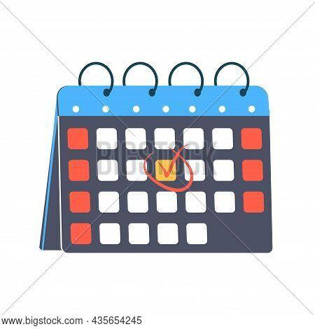 Deadline Illustration, Red Mark Around A Date In The Calendar. Desktop Calendar With A Marked Date.