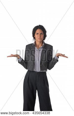 Portrait Of Young Business Woman Shrugging Shoulders Isolated Over White Background Dont Know Confus