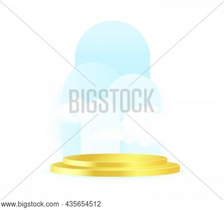 Minimal Scene With Blue Podium And Cloud Abstract White Background Scene Studio Or Pedestal For Disp