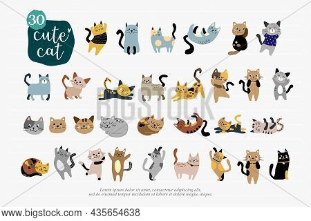 Cartoon Cat Set With Emotions And Different Poses. Cat Behavior, 30 Body Language And Face Expressio