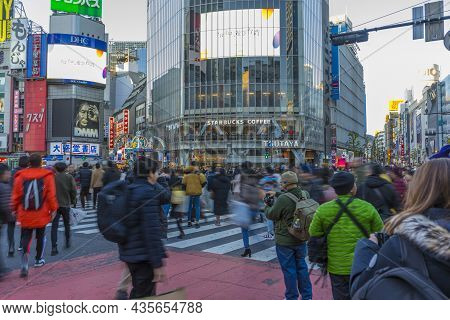 Tokyo, Japan - January 5,2020 : Crowded Of People Crossing The Famous Shibuya Crossing Intersection