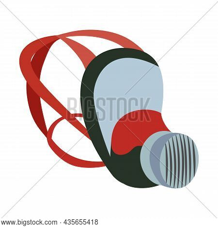 Respirator Cover And Shield Flat Icon Vector Drawing, Design Illustration