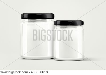 3D empty glass jars, food product packaging with design space