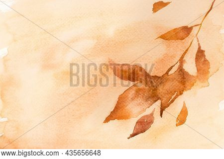 Autumn floral watercolor background in pastel orange with leaf illustration