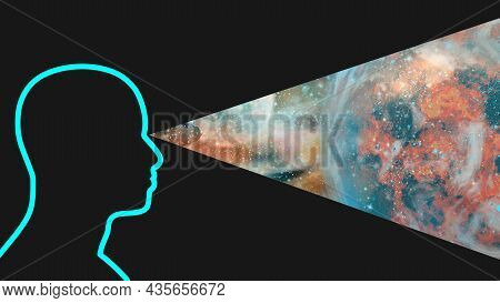 Silhouette Of A Man Observing The Universe