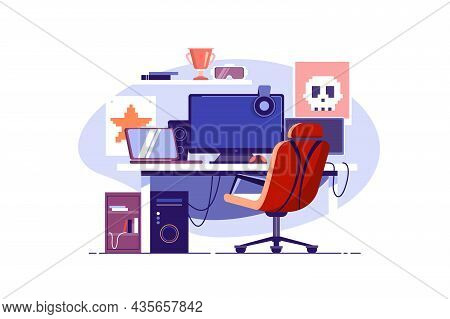 Multiple Computer Monitors For Gaming Vector Illustration. Gamer Room, Play Video Games Flat Style.