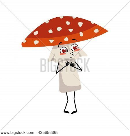 Cute Amanita Character Falls In Love With Eyes Hearts, Kiss Face, Arms And Legs. Fly Agaric Mushroom