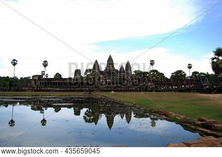 Ancient Ruins Antique Building Castle Khmer Empire Of Angkor Wat For Cambodian People And Foreign Tr