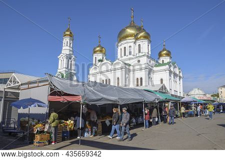 Rostov-on-don, Russia - October 03, 2021: View Of The Cathedral Of The Nativity Of The Blessed Virgi