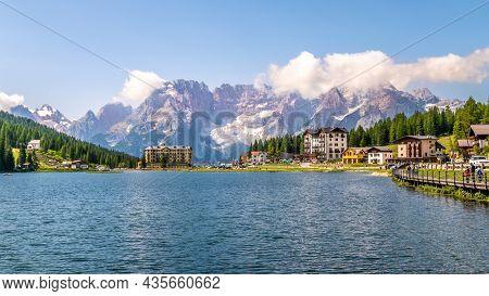 Misurina,italy - July 11,2021 - View At The Misurina Lake. Lake Misurina Is The Largest Natural Lake