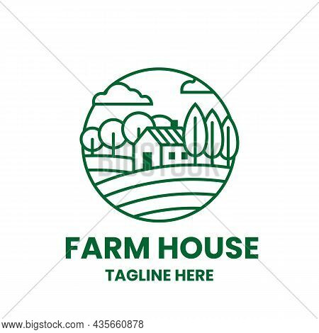 Farmhouse Logo Template. Field, Trees And House In Outline Style. Stock Vector Illustration.