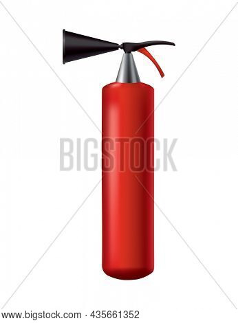 Red fire extinguisher. Isolated portable fire-fighting unit. Firefighter tool for flame fighting attention. Portable fire extinguishing equipment.  illustration of safety equipment