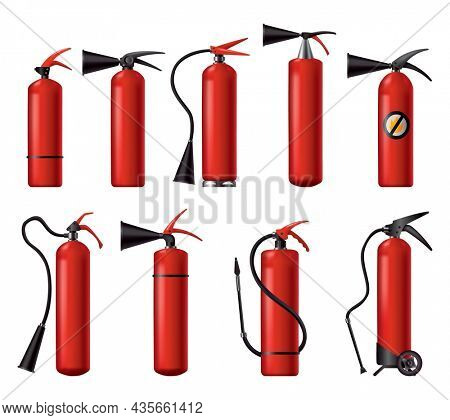 Red fire extinguishers set. Isolated portable fire-fighting units of different shape. Firefighters tools for flame fighting attention. Portable fire extinguishing equipment