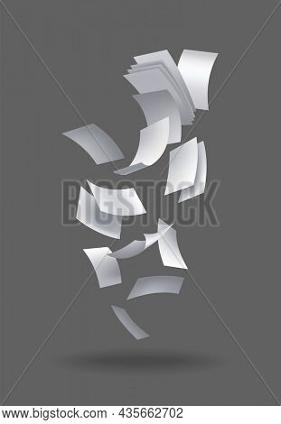 Realistic falling paper sheets. Set of flying curved leaves of paper.  loose soar of notes with curled edges. Fly scattered notes, empty chaotic paperwork