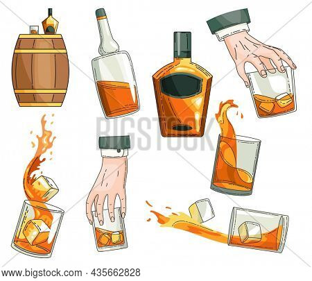 whiskey symbols set. Glass bottle, man hand holding glass of scotch with ice cubes, wooden alcohol barrel icon collection. Alcohol product advertising design