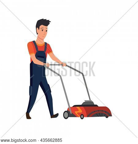 Professional gardener worker mowing lawn with electric push-mower in backyard. Male handyman cutting grass in garden. Colored flat cartoon  illustration professional worker
