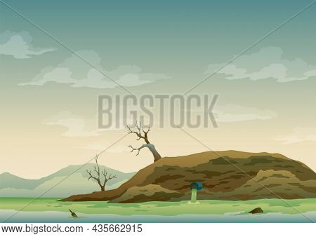 Landscape with ecological disaster. Trash emission to river water. Polluted earth. Contaminated land with dead trees, polluted environment. Ecology problem concept in flat style