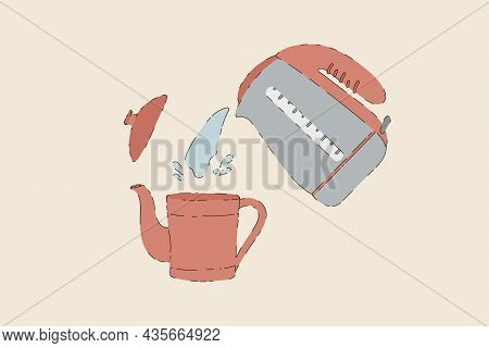 Vector Illustration Of Tea Time. A Picture Of The Process Of Brewing Tea. Brewing Tea In A Teapot. H