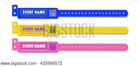 Bracelet Event Access Set Different Color For Id Fan Zone Or Vip, Party Entrance, Concert Backstage