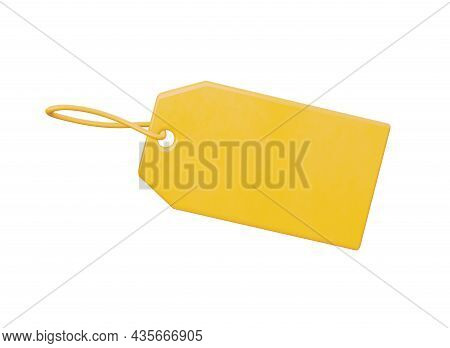 An Empty Plastic Label, So That You Can Put Your Price. Yellow, Isolated On A White Background. 3d R