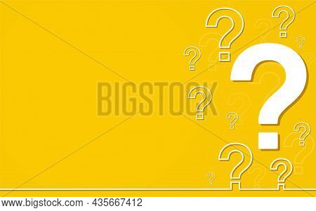 Question Mark, Faq Sign, Help Symbol On Yellow Background. Concept Assistance, Information Request.