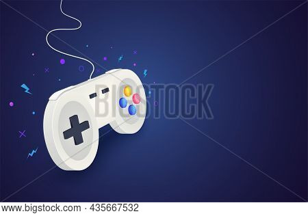 Game Controller For Controlling Pc And Console Games. Video Game Background Concept With White Joyst