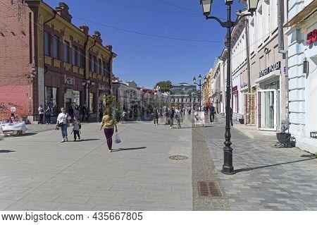 Irkutsk, Russia - August 28, 2021: Irkutsk. Uritsky Street - Pedestrian Street In The Center Of Irku
